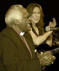 Beth Nielsen Chapman with Archbishop Desmond Tutu